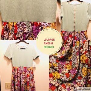 ♦️SALE♦️ Teal Lularoe Amelia Dress Medium👗 Floral